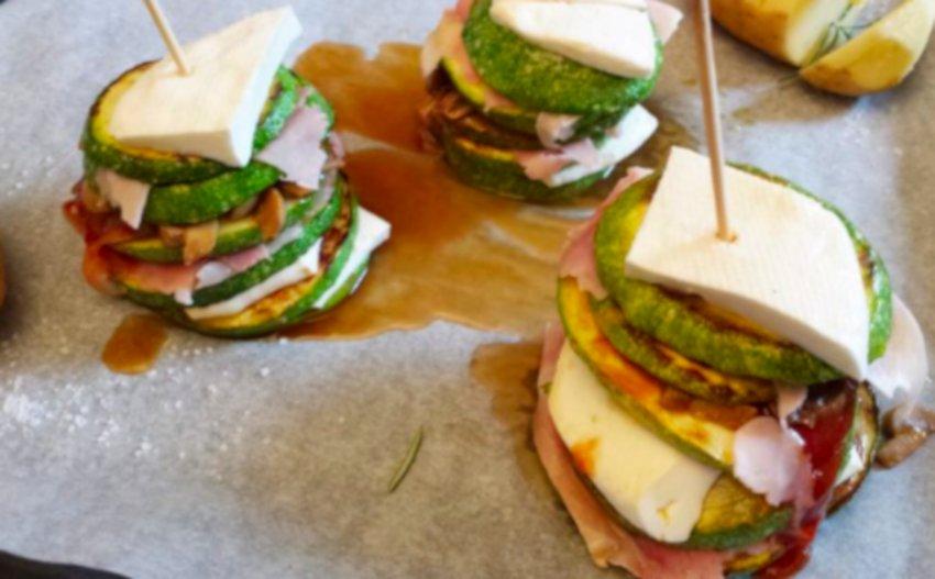 torrette di zucchine con prosciutto e formaggio